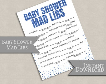 Baby Shower Printable Mad Libs, Blue glitter effect, baby boy mad libs, it's a boy madlib printables, printable games, instant download S1E4