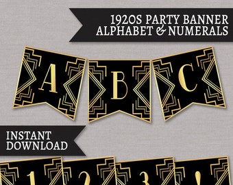 1920s banner printable, party 20s theme printable decoration, prohibition era party decor, happy birthday bunting, roaring 20s printables