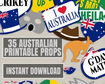 35 Australia Day Party Props, Australian Props, Happy Australian theme party photobooth props, aussie photo booth party props, downloadable