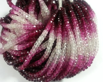 4 mm Ruby Shaded Faceted , 15 inches