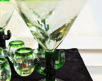 Cactus Stemmed Margarita Glasses