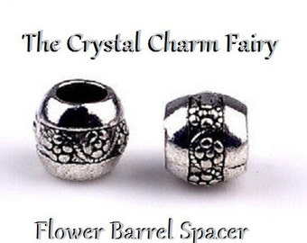 European Charm ~ FLOWER SPACER ~ Silver Plated Bead Big Hole Charm Fits Large Hole / European / PANDORA / Bracelets / Necklace