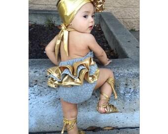 Heather Grey & Metallic Gold Stripe and Polka Dot Ruffle Back Baby Romper - Sunsuit