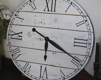 22 Inch Rustic Wall Clock, Large Wall Clock, Distressed Clock, Wooden Clock, Farmhouse Clock, Unique Clock, Oversized Clock, Painted Clock