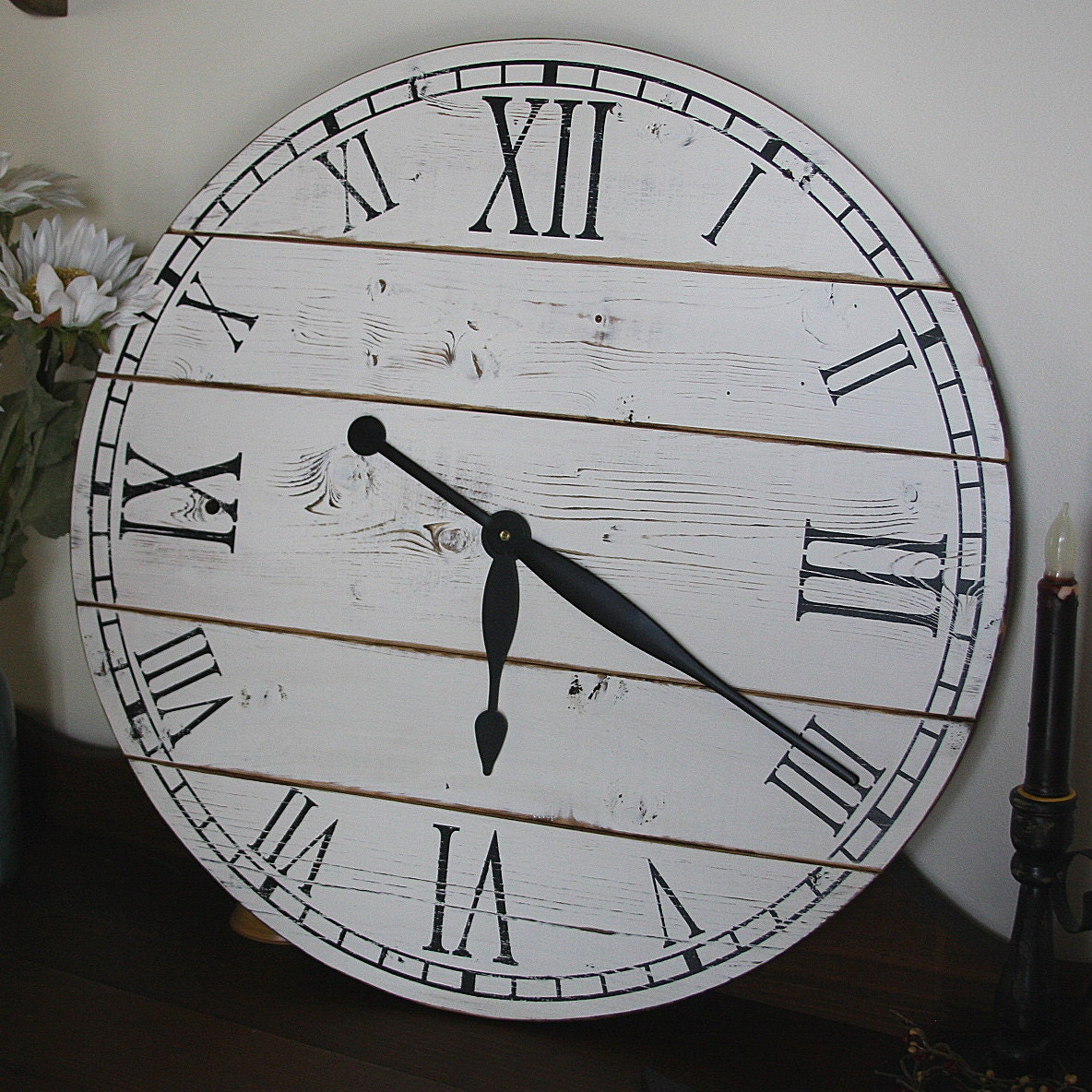 22 Inch Rustic Wall Clock Large Wall Clock Distressed Clock