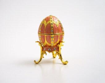 "Faberge Style Egg w/Pendant Trinket Box, 2.5"" Tall (Pink)"