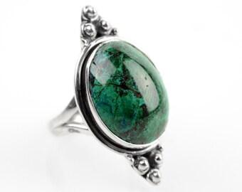 Chrysocolla Ring Sz 5.5 Native American Ring Silver boho rings Bohemian Silver Navajo Ring Zuni Southwest Indian Silver Jewelry Eilat Ring