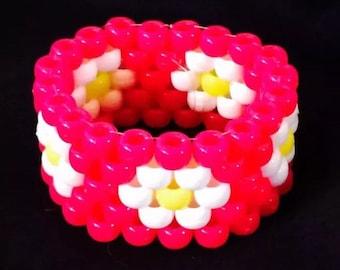 PLUR kandy rave neon pink cuff bracelet