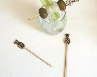 Pineapple Wood Appetizer Picks,Drink Stirrer,cocktail sticks,tropical,Shower Decor,Engagement Party,Cocktails,Bachelorette,Laser Cut,6 Pk