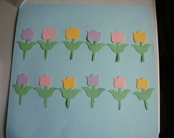 12 Die Cut Tulips Embellishments Card Making Scrapbook Cardstock Sizzix