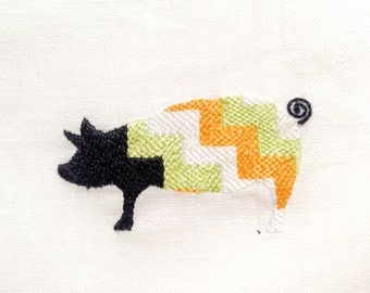 Embroidered Handkerchief: Pig