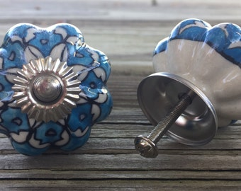 Set 6 Scalloped Hand Painted Ceramic Knobs blue, creamy white ,silver