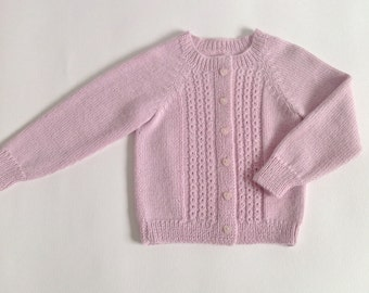 Baby sweater / knitted baby sweater /girl sweater /  pink baby alpaca sweater /baby cardigan/baby jumper/size 0-24 months/ready to ship