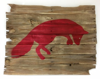 Red Fox Painted on Reclaimed Wood