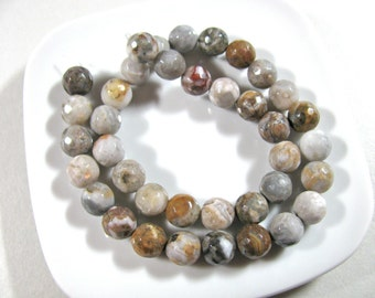Agate beads, faceted beads, 38 beads, 15 inch strand, 9mm - 430