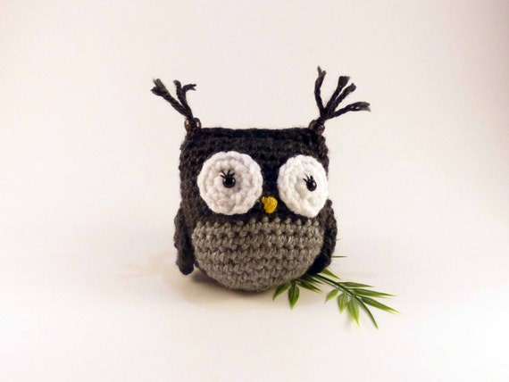 Amigurumi Owl Black and Gray Crochet Owl by HnHKeepsakes ...