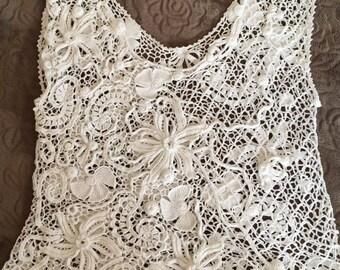 Top female. Crochet Irish lace. Ирландское кружево.