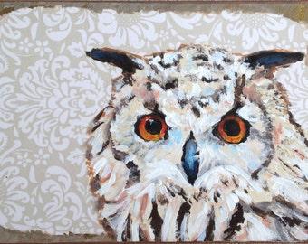 Owl painting, 5x7 art, Gift for bird lover