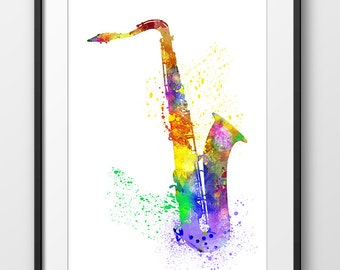 Saxophone Print, Saxophone Watercolor Print, Music Wall Art, Music Poster, Music Instrument Poster, Saxophone Art (A0241)