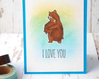 I Love You, Hugging Bears, water colored, handmade card