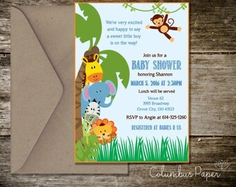 Jungle Animals Baby Shower Invitation + Envelope (Set of 20)