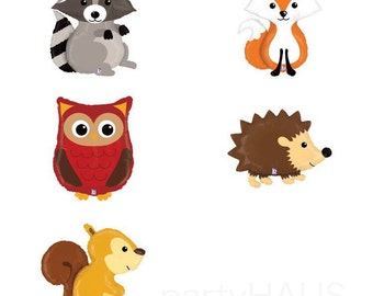 Woodland Animal Balloons, Fox Balloon, Hedgehog Balloon, Squirrel, Owl Balloon, Racoon, Woodlands Party, Birthday Party, Woodland Party