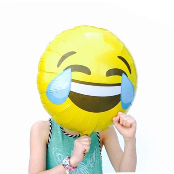 Emoji Balloons, CRYING LAUGHING, Emoticon Balloon, 18