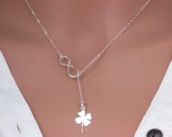 Four Leaf Clover Necklace in Sterling Silver, Sweet and Simple Shamrock for Good Luck, Four leaf clover Infinity Lariat  necklace, infinity