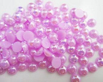 1080 Pinkish Purple 8mm Flat Back Pearly Beads
