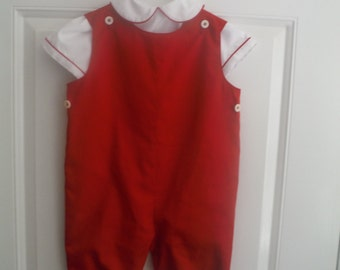 Crimson Red Long-Alls w Shirt