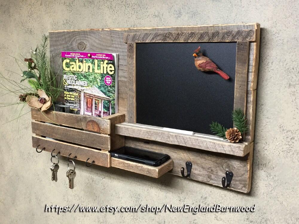 Wall chalkboard organizer chalkboard mail organizer mail - Key hook and mail holder ...