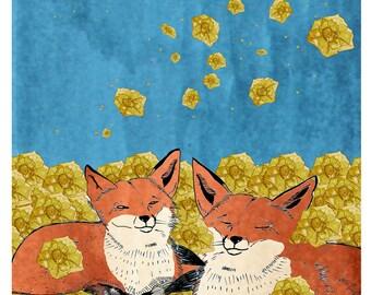 Greeting card. Feeling Golden. Blank inside. Foxes loving.