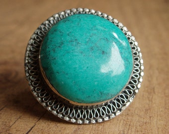 Gorgeous handmade turquoise vintage ethnic statement ring