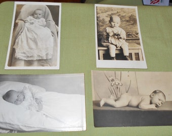4 Vintage Real Photo Postcards Babies Children Fager Family