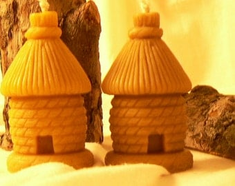 2 candles handmade decoration 100 % beeswax