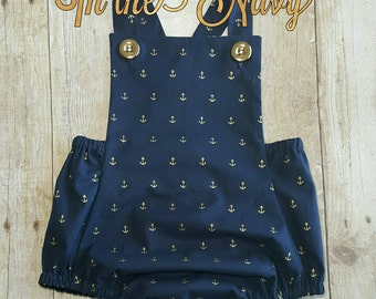 In the Navy Romper, Navy Anchors Romper, Baby Romper, Girl Romper, Bubble Romper, Handmade Romper, Vintage Inspired Romper