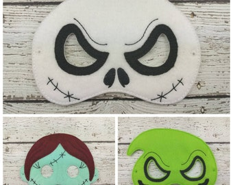 Jack Sally and Oogie Set of 3 Children's Felt Mask Set  - Costume - Theater - Dress Up - Halloween - Face Mask - Pretend Play - Party Favor