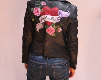 Hand Painted Moto Leather Jacket - Lionhearted