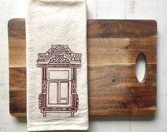 SALE 50% OFF Flour Sack Towel (Unbleached) - Kostroma Russian Window (Dark Red) - Hand Screen Printed