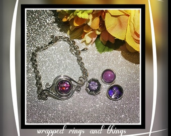 snap interchangeable button jewerly purple bracelet set