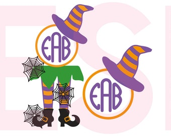 Halloween SVG, DXF, EPS, Witch legs and Witch hat monogram, cutting files, use with Silhouette Studio and Cricut Design space.
