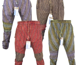 Patch Tapered Trousers Cotton Elastic Waist Drop Crotch Nepalese Aladdin Genie Casual Pants