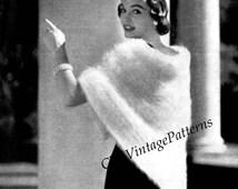 Knitted Shawl ... Ladies Triangular Shawl ... PDF Knitting Pattern ... Stylish All Year ... Instant Download Pattern ... 1950's Evening Wrap