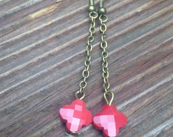 Bronze chain earrings and Pearl clover bordeaux