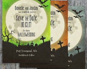 Halloween Save the Date - Halloween Wedding Save the Date with Moon and Bats over a Cemetery