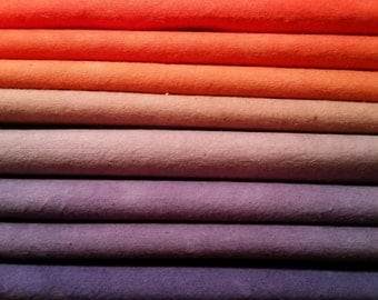 """Hand dyed cotton fat quarters for quilting, gradation of orange to purple, """"Tropical Sunset"""""""