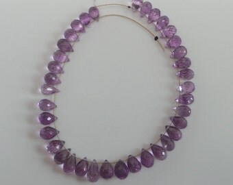 Stunning transparent natural micro faceted amethyst teardrop briollette beads. SPS76