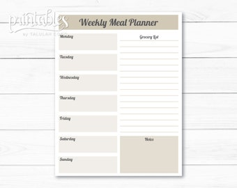 Customizable Meal Planner with Grocery List Template, Weekly Menu Planner, Meal Planner Template, Instant Download Shopping list Printable