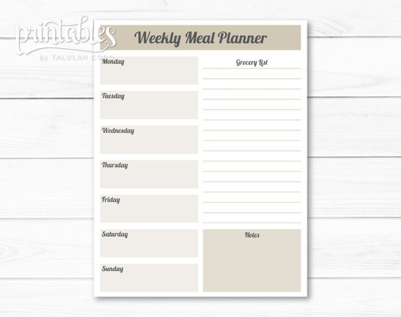 monthly meal planner template with grocery list - customizable meal planner with grocery list template weekly