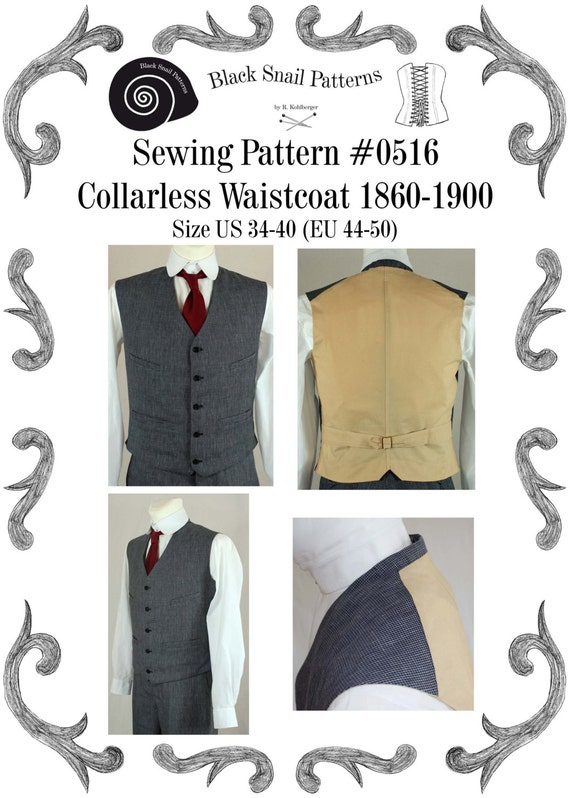 Victorian Edwardian Waistcoat Sewing Pattern #0516 Size US 34-48 (EU ...